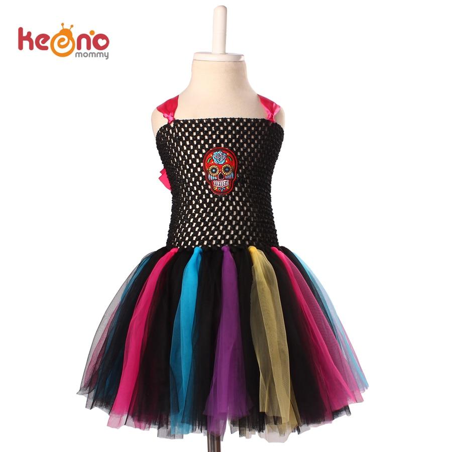 цена Keenomommy Rainbow Skull Tutu Dress Girls Fancy Halloween Purim Costume Handmade Kids Tulle Dress TS119 онлайн в 2017 году