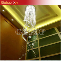 ZX K9 Crystal Stainless Steel Wire Drawing Hanging GU10 AC LED Spirality Chandelier CCC CE