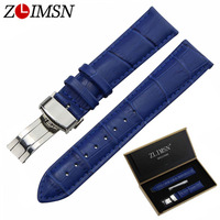 ZLIMSN Genuine Leather Watch Bands 18 20mm Blue Crocodile Grain Wristwatch Strap Polished Single Push Butterfly