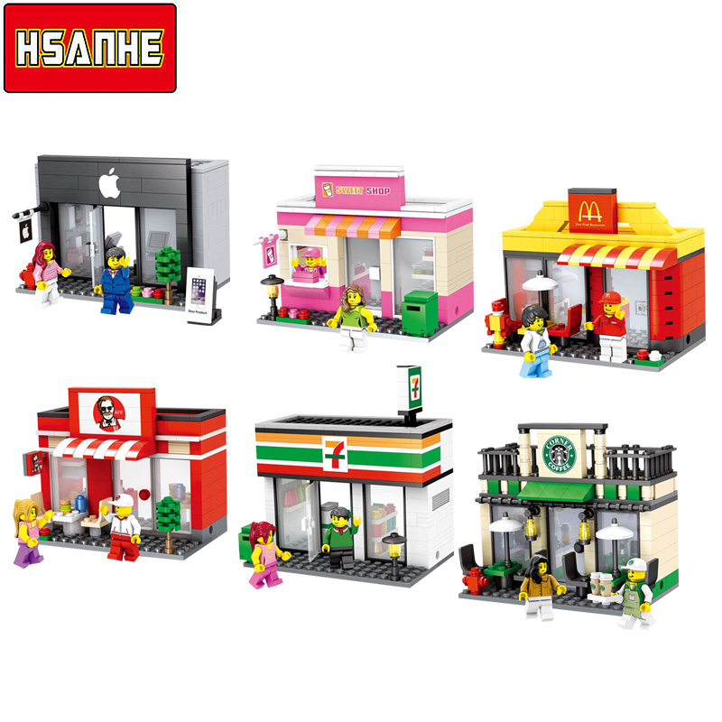 2017 HotSale Hsanhe 6 styles City Series Mini Street Model Store Shop with McDonald`s Building Blocks Toys Compatible with Lego