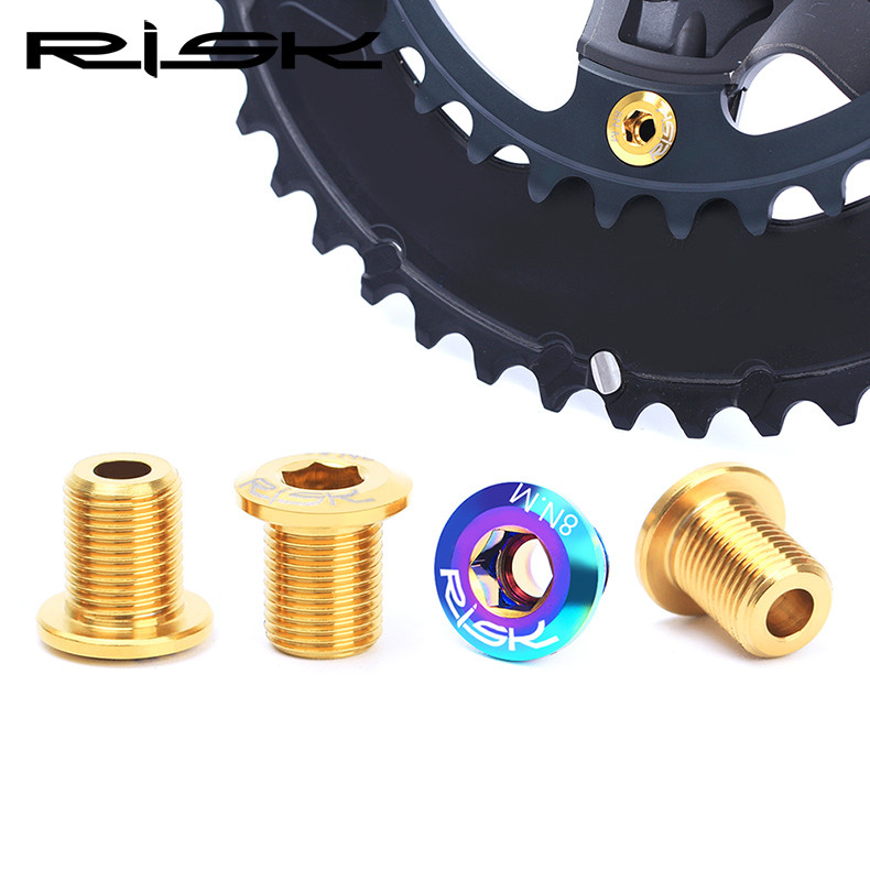 RISK Road Bike Crankset Bolts Titanium M8*10 mm Bicycle Chain <font><b>Wheel</b></font> Bolts For SHIMANO ULTEGRA / DURA-ACE Crabkset 4 Piece / Lot