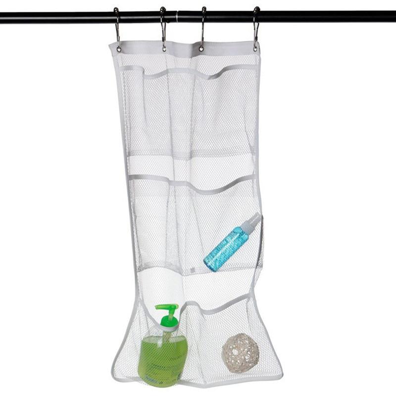 Hot Selling 6 Pocket Bathroom Tub Shower Hanging Mesh Organizer Caddy Storage Bag With 4 Metal Hook 63*36cm