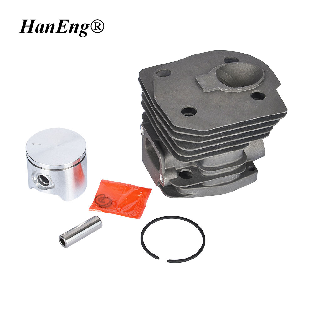 44MM CYLINDER KIT LOW TYPE FOR HUSQVARNA CHAINSAW 350 351 353 346 ZYLINDER ASSY PISTON RING PIN CLIPS ASSEMBLY 40mm fs250 cylinder assembly for trimmer st fs280 & more brush cutter zylinder head w piston ring set pin clips kit