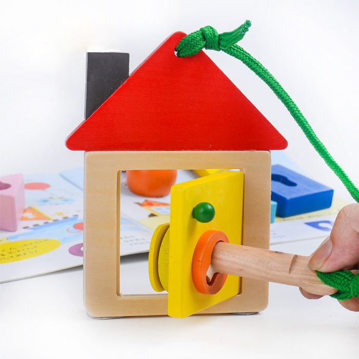Candice guo wooden toy wood Montessori teaching kid open door lock principle shape block baby string bead game bedtime story set