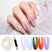 MEET ACROSS 1 Box Holographic Nail Glitter Powder Rainbow Color Neon Effect Magic Shell Decor Chrome Dust
