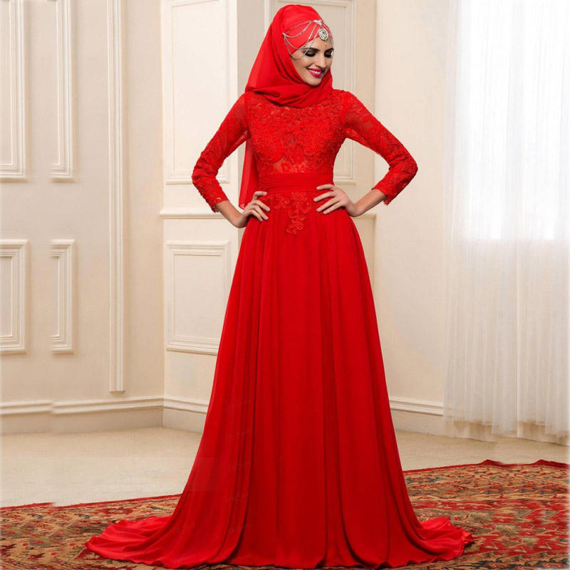 2017 red muslim arabic wedding dresses bow beads high neck for Wedding dresses 2017 red