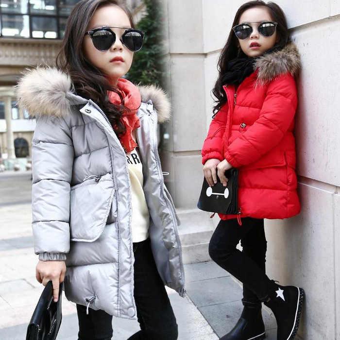 באיכות גבוהה 2019 חורף מעילי בנות מעילי חם בנות למטה מעיל ילדי בגדי מעילי כותנה ברדס ילדים הלבשה עליונה