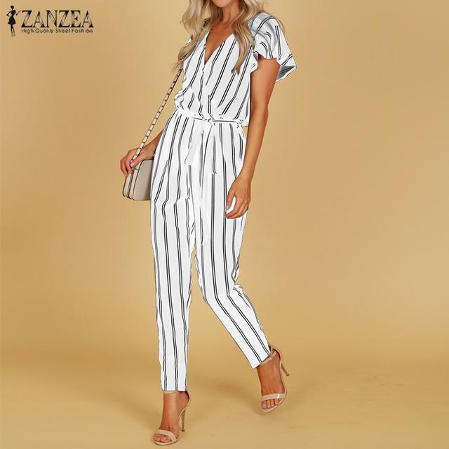 S 5XL ZANZEA 2018 Summer Sexy Deep V Neck Party Jumpsuit Women High Waist Striped Overalls Short Sleeve Long Turnip Bodysuit