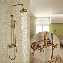 Antique brass 8 Rain Shower Faucet Set Bathroom Tub Mixer Tap Shower Column