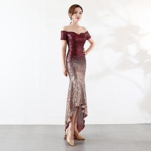 Image 3 - NOBLE WEISS Sexy Prom Dresses 2019 Boat Neck Gradual Sequin Asymmetrical Custom Made Mermaid Party Dress