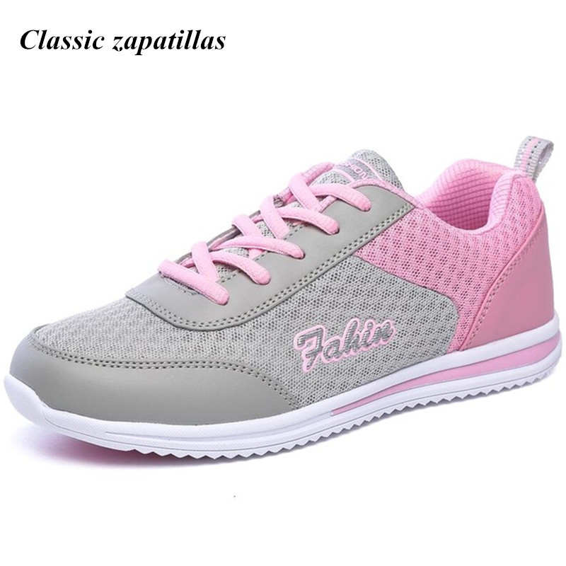Classic zapatillas Summer Lightweight Breathable Women Mesh Shoes Soft Comfortable Flats Shoes Woman Lace Up Casual Shoes 2018 spring summer women casual air mesh breathable sneakers lightweight soft flats shoes for woman big size 36 42 zapatillas