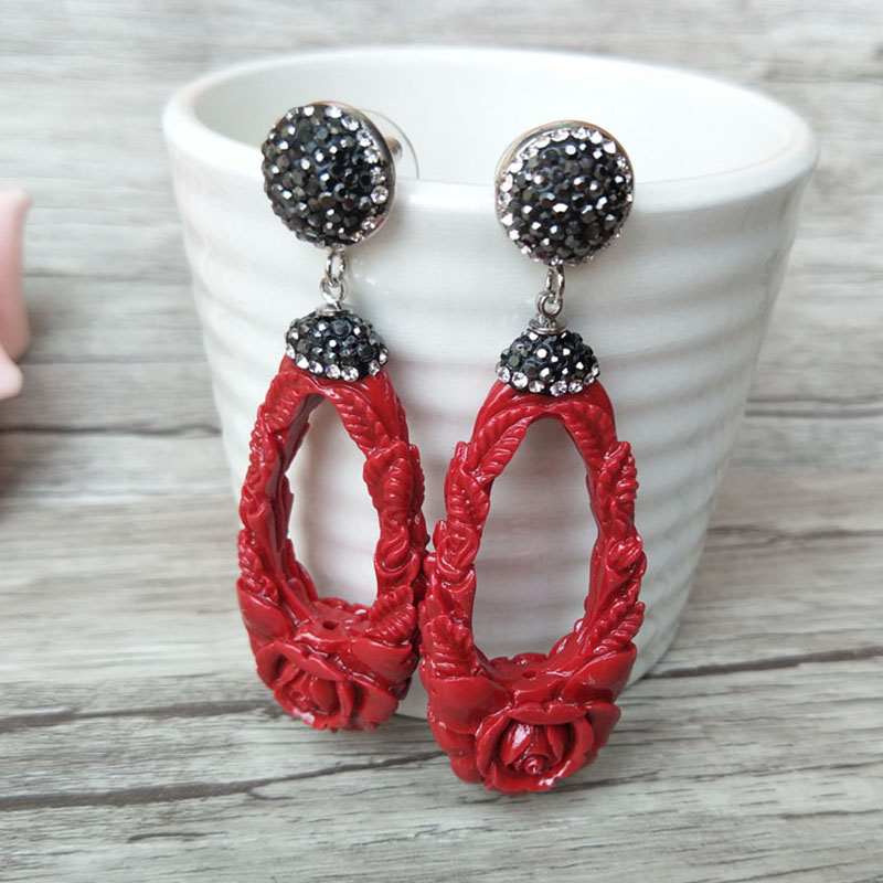 5 Pairs resin Cut Out Carvings Earring,Pave Rhinestone Drop Dangle Earrings Jewelry For Women Bohemia Earrings ER290