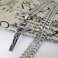 """Бесплатная доставка очаровательная нью-панк мужские ювелирные изделия из нержавеющей стали серебряный крест ожерелье с 23.6 """" 6 мм снаряженная кубинской цепь"""
