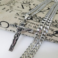 "Free Shipping Charming New Punk Mens Jewelry Stainless Steel Silver Cross Pendant Necklace With 23.6"" 6mm Curb Cuban Chain"