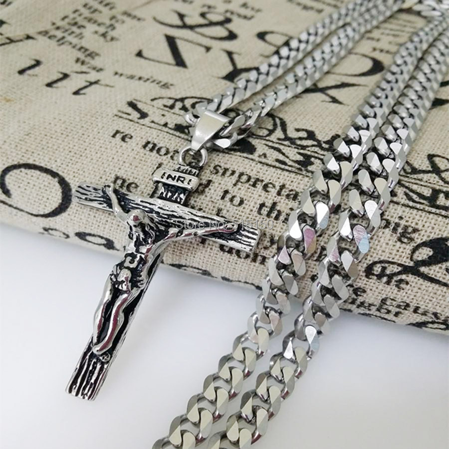 """Free Shipping Charming New Punk Mens Jewelry Stainless Steel Silver Cross Pendant Necklace With 23.6"""" 6mm Curb Cuban Chain"""