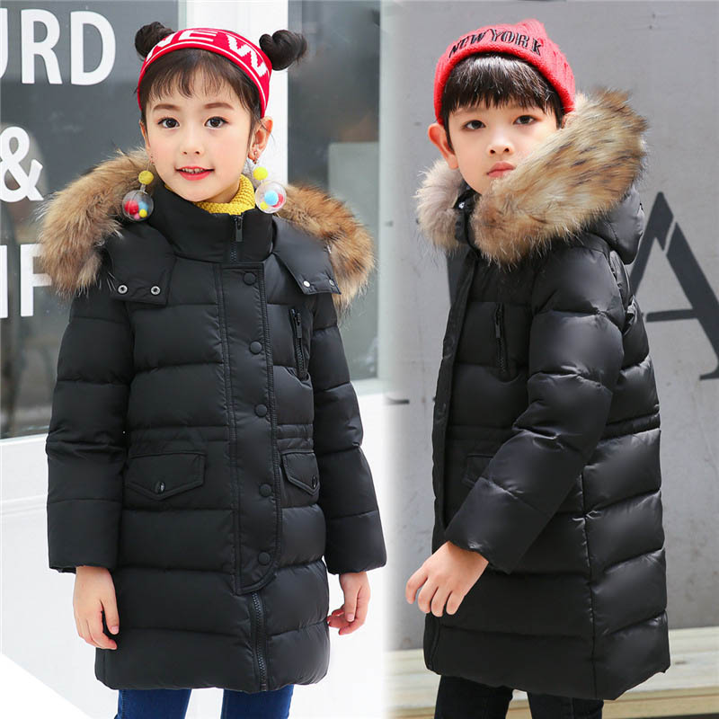 2017 Winter Children Unisex Down Jacket For Girl And Boys Parka Fashion Long Thick Fur Hooded White Duck Down Kids Overcoat 4-14 fashion long parka kids long parkas for girls fur hooded coat winter warm down jacket children outerwear infants thick overcoat