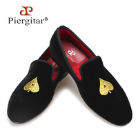 Piergitar new designs Handmade men velvets shoes with gold poker heart embroidery Fashion party and wedding men dress shoes
