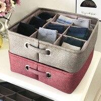 Thicken Cotton And Linen Storage Basket 9 Grid Household Organizer Underwear Sock Sundries Storage Box