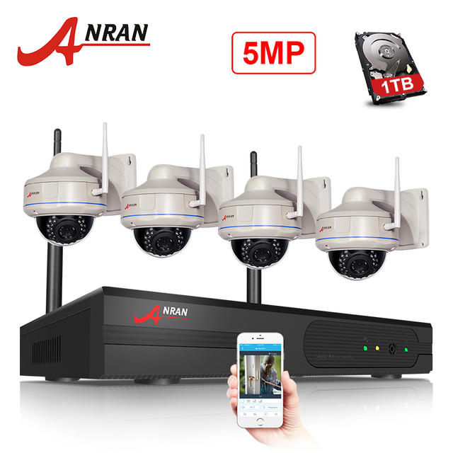 ANRAN HD 5MP H.265 WIFI NVR Kit Network Security CCTV System Outdoor NightVision Dome Alarm CCTV Camera System Surveillance Kit