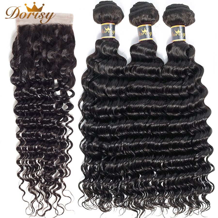 Deep Wave Bundles With Closure Human Hair Bundles With Closure Brazilian Hair Weave Bundles Dorisy Remy