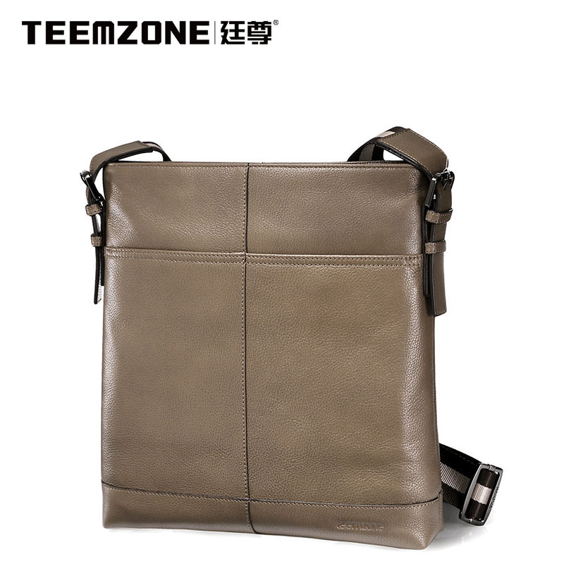 Men Shoulder Bags Genuine Leather Briefcase Business Casual Travel Bag Teemzone Brand Handbag Men's Messenger Bag Free Shipping