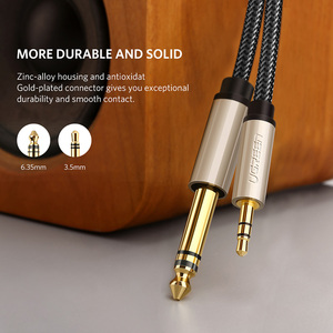 Image 2 - Ugreen 3.5mm için 6.35mm adaptör Aux kablosu mikser amplifikatör CD çalar hoparlör altın kaplama 3.5 Jack 6.5 jack erkek ses kablosu