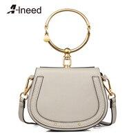 ALNEED 2018 Genuine Leather New Tide Messenger Bag Korean Version Of The Wild Saddle Bag Round Handbag Crossbody Shoulder Bags