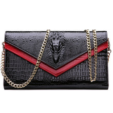 Women's Genuine Leather Alligator Cowhide Bag Female Crocodile Chain Small Shoulder Evening Bag Clutch Handbag Wallet Purse(China)
