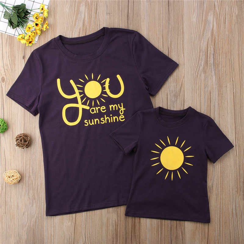 52848aa7c570 you are my sunshine Family Matching Shirt Mother Daughter Kids T-shirt Tops  Clothes Outfits Casual Tshirt