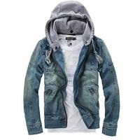 Fashion Good Autumn Winter Men Clothing Hooded Denim Jacket Outside Casual Jeans Coats Outerwear Blue
