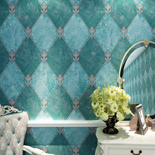 New High-grade American Abstract Diamond Vintage Green Living Room Entrance Wallpaper 3D Deep Embossed Tv Background Walls