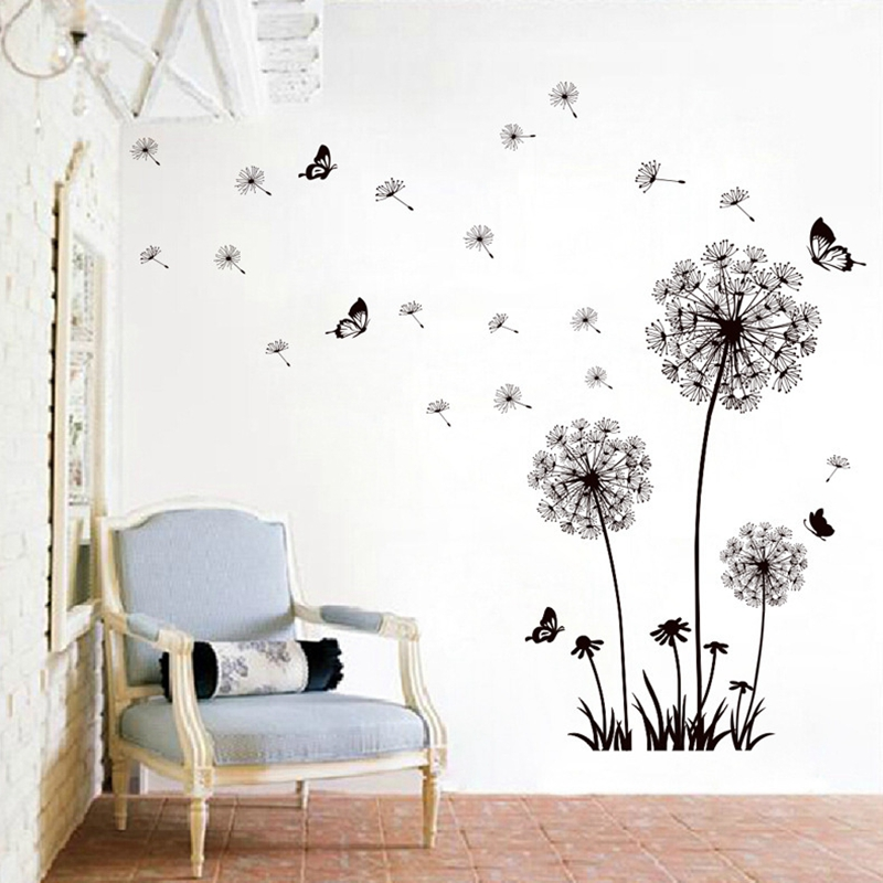 Dandelion flowers wall stickers papier peint Transparent Autocollant Art Décor Maison DIY