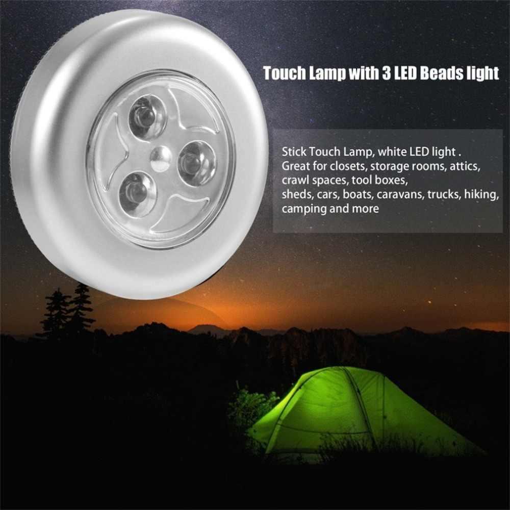 3 LED Kontrol Sentuh Lampu Malam Lampu Bulat Di Bawah Kabinet Lemari Mendorong Tongkat Pada Lampu Rumah Kamar Tidur Dapur Kamar Penggunaan Mobil