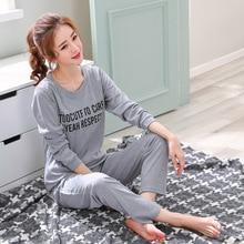 Ev giysileri kadın Pijama iki parça 2019 yeni Pijama artı boyutu pamuk Pijama seti kadın Pijama Kawaii gece takım elbise kıyafeti