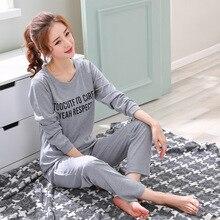 Ropa Para el hogar pijamas de dos piezas 2019 nuevo Pijama de talla grande de algodón Conjunto de Pijama de mujer ropa de dormir Kawaii noche