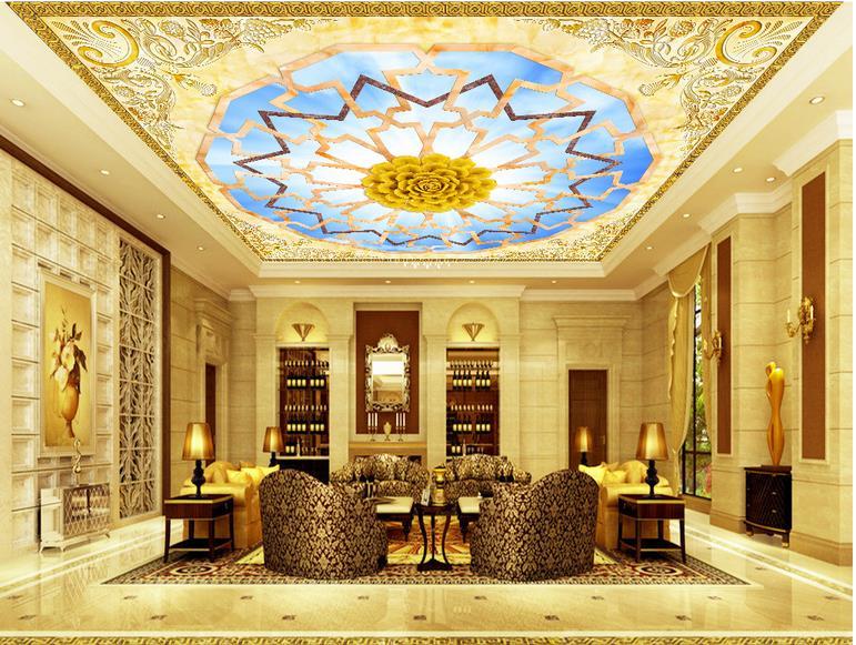 3D потолок фрески на заказ обои золотой цветок bloom 3d кухня для потолка ванной custom