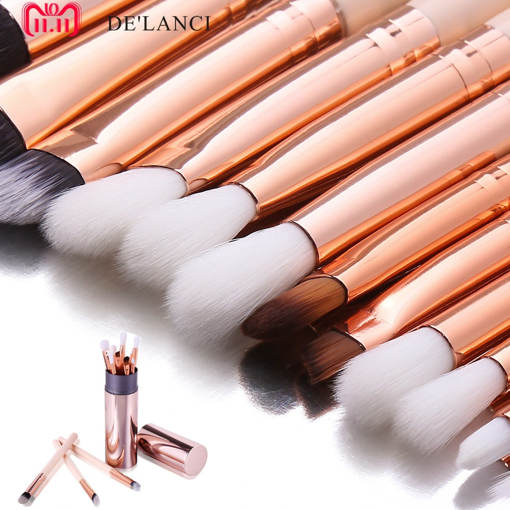 где купить DE'LANCI 12 Pcs Eyeshadow Blending Brushes Pencil Maquiagem Eye shadow Makeup Brushes Pink makeup brush holder дешево
