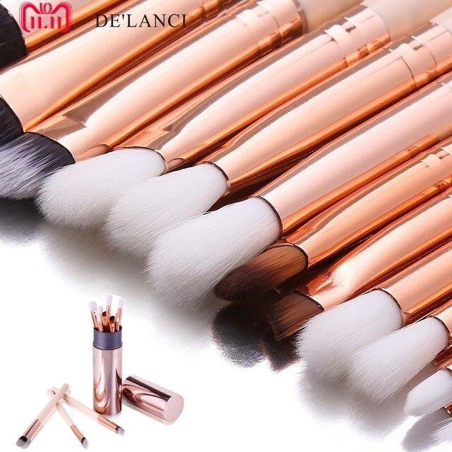 DE'LANCI 12 piezas de sombra de ojos mezcla cepillos lápiz Maquiagem de sombra de ojos pinceles de maquillaje Rosa sostenedor de cepillo del maquillaje