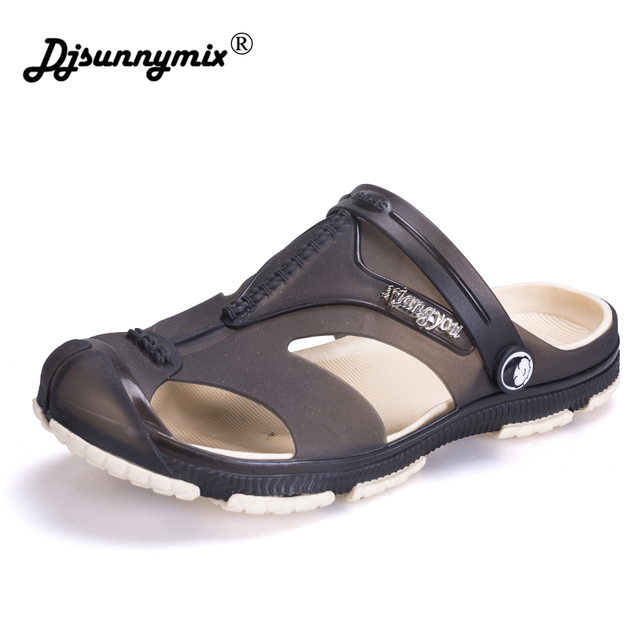 0da53df17868 DJSUNNYMIX Men Sandals Jelly Shoes Garden Summer Beach Breathable Casual Shoes  Men Flats Slip on Slippers Plus Size 40-45