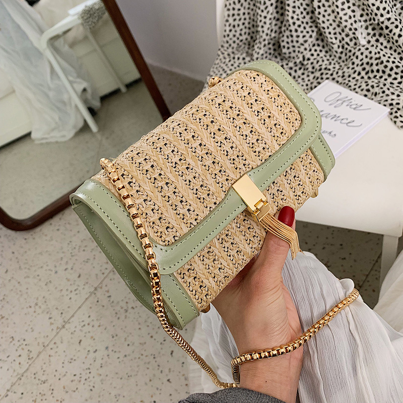 Fashion Women 39 s Bags 2019 Leather Rattan Straw Bag Cross Body Messenger Women Shoulder Bag 2019 Summer Red Vintage Female Tassel in Shoulder Bags from Luggage amp Bags