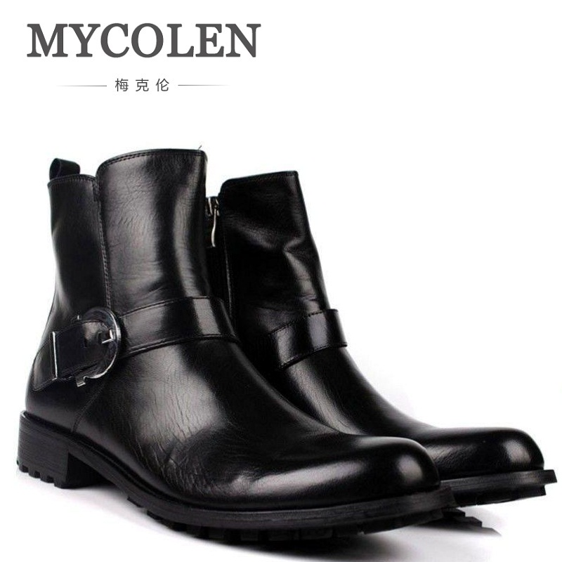 MYCOLEN New Men Motorcycle Boots Black Winter Genuine Leather Boots Lace-up High Top Round Toe Military Boots Shoes Laarzen цена