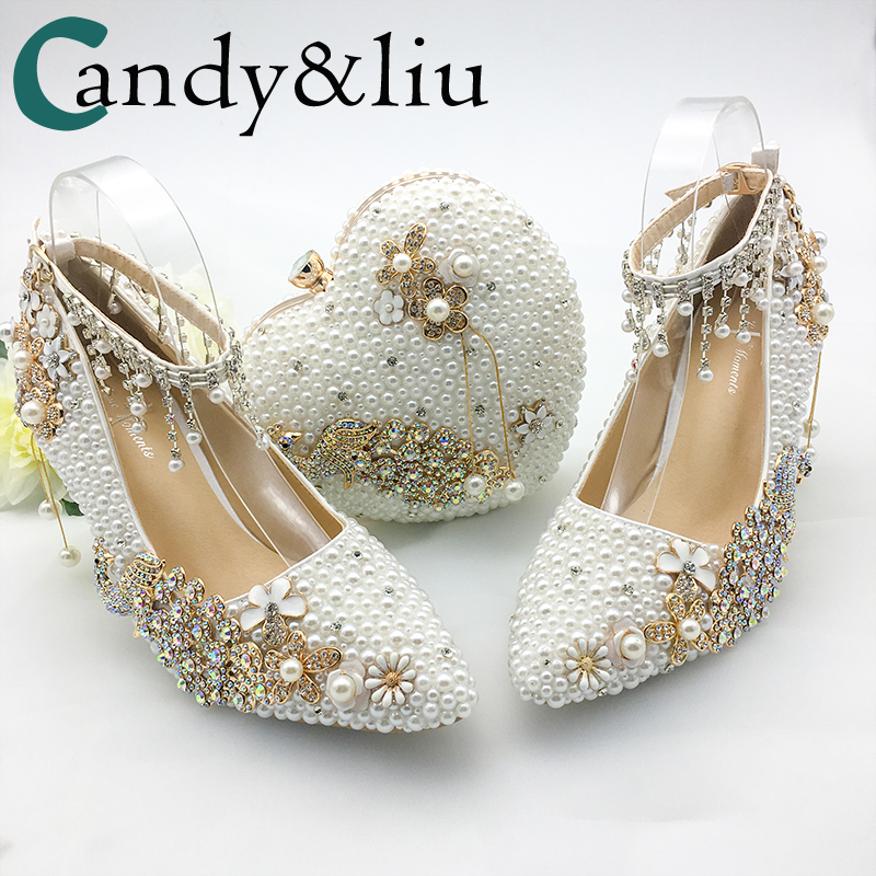 Women Shoes Wedding Big Size 43 47Heels For Party White Pearl Crystal Peacock Metal Flowers Tassel