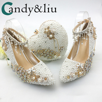 Женская обувь Свадебные Большой Размеры 43 47Heels для вечерние белый жемчуг Кристалл Павлин металлические цветы кисточкой туфли лодочки с ост