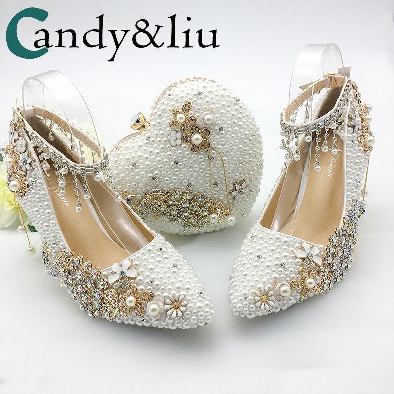 Femmes chaussures mariage grande taille 43-47talons pour fête blanc perle cristal paon métal fleurs gland bout pointu pompes personnaliser