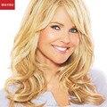 MAYSU Esponjoso rubio Largo Pelucas de Pelo Humano Para Las Mujeres de Múltiples Capas de Moda Brasileña Virginal Del Pelo peluca Sin Tapa Europeo estilo