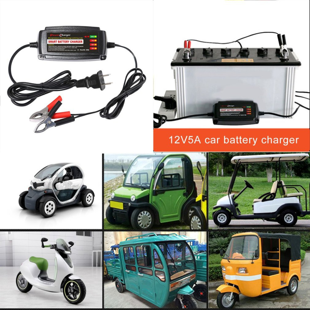 12 В 5A свинцово-кислотная Батарея Зарядное устройство несколько защитных систем поставки авто США Plug 4 этап режима коммутации светодиодный и…