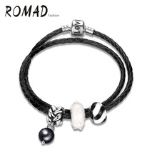 Romad New Winter Gifts Silver Plated Lock With Love Letters White Charms Leather Wrap Bracelet Bangles For Women Fashion Jewelry