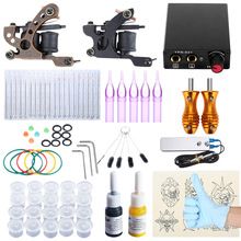Tattoo Kit 2 Iron Machine Gun Shader Liner Mixed Needles Ink Stainless Steel Foot Pedal Switch