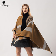 New Desig Fashion Winter poncho feminino inverno Capes Oversized Shawls and Wraps Stripe Pashmina foulard Cashmere Scarf Women(China)
