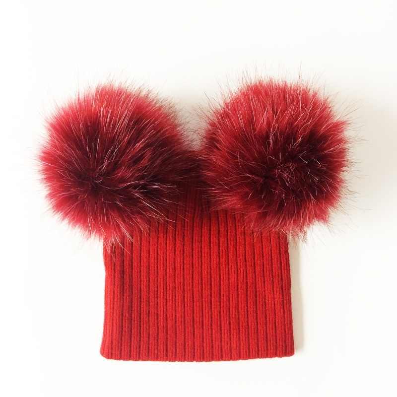 หมวกเด็ก Faux Fur Double Pompom หมวกสำหรับหญิงฤดูหนาวถักหมวกเด็กแฟชั่นหมวกเด็กหมวก